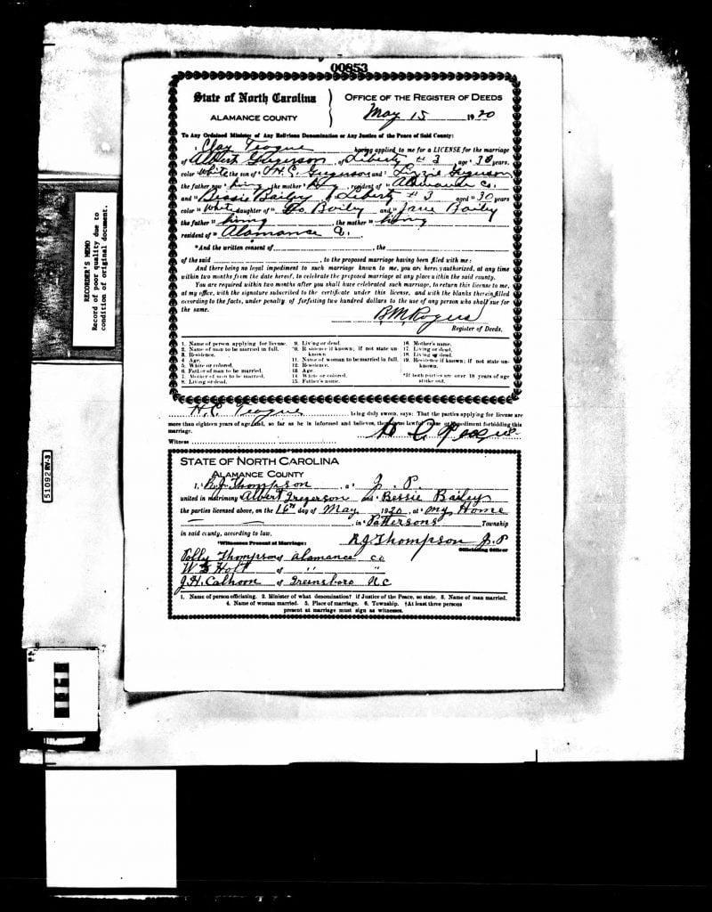 15 May 1920 NC Marriage Certificate for Albert Gregerson and Bessie Bailey