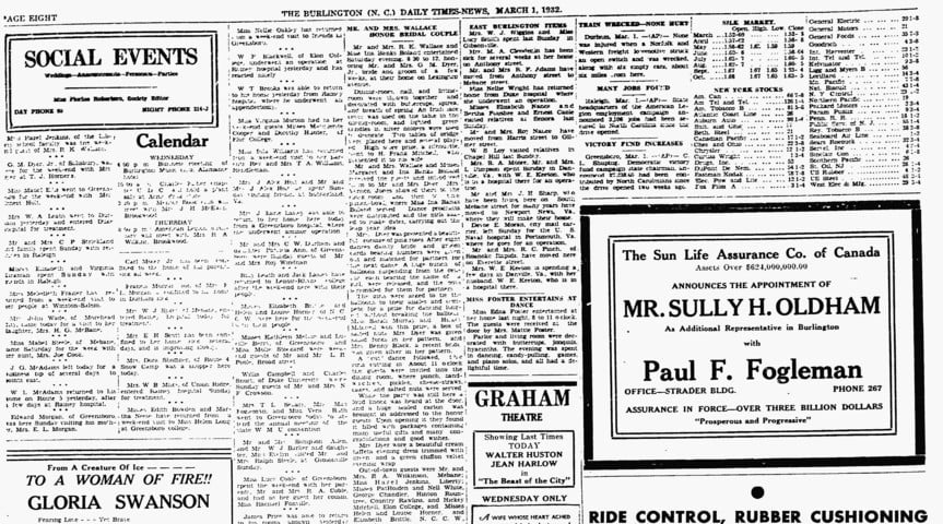Burlington Daily Times News 1 Mar 1932 p. 8